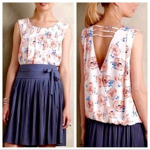 Anthropologie Criss Cross Back Pleated Blouse M